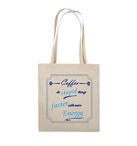 Comedy Bags - Coffee do stupid things faster with more Energy - Jutebeutel - lange Henkel - 38x42cm - Farbe: Schwarz / Weiss-Neongrün Natural / Royalblau-Hellblau