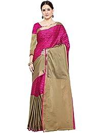Shree Sanskruti Women's Poly Cotton Saree With Blouse Piece (D J Chikku Pink_Pink & Chikku)