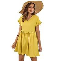 SheIn Women's Casual V-Neck Frill Trim Short Sleeve Dress Yellow L