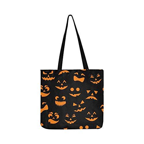 Orange Halloween Kürbisse geschnitzte Leinwand Tote Handtasche Schultertasche Crossbody Taschen Geldbörsen für Männer und Frauen Einkaufstasche