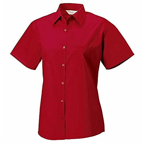 Russell Collection Ladies Short Sleeve 100% cotton poplin shirt