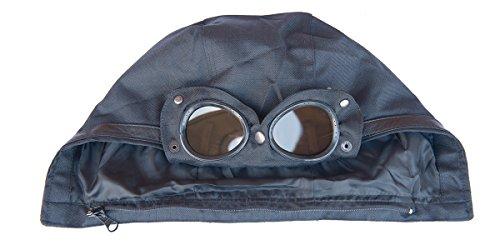 Gilet multitasca con cappuccio removibile dotato di lenti in acetato ottico, adatto per andare in moto o scooter Nero