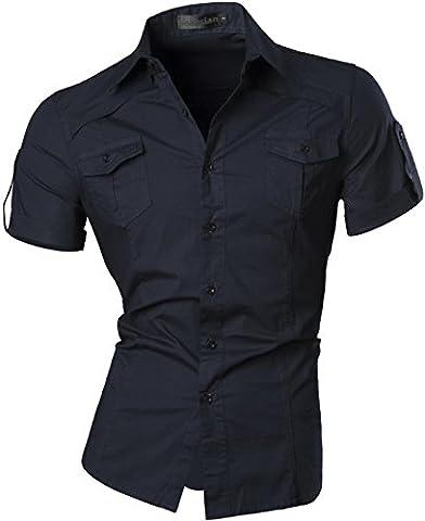 jeansian Herren Freizeit Hemden Shirt Tops Mode Kurzarm Men's Casual Dress Slim Fit 8360_Navy_XXL