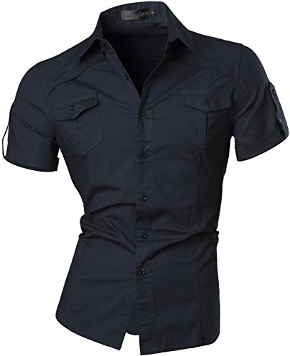 zeit Hemden Shirt Tops Mode Kurzarm Men's Casual Dress Slim Fit 8360_Navy_M (Billig Herren Kostüme)