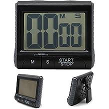 Stonges LCD Digital Kitchen Large Digit Timer Count-Down Up Clock Loud Alarm Black White (Black)