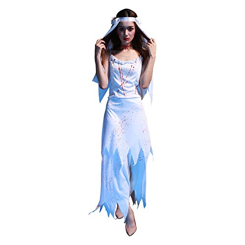 Damen Geisterbraut Kostüm cosplay Kostüme Halloween Abendkleid Damen Zombie Horror (Kostüm Weiblich Dämon)