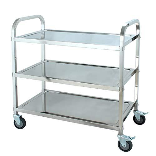 3-Tier-Edelstahl-Rollwagen Multifunktions-Nutzwagen-Küche-Aufbewahrungswagen auf Rädern, Fachwagen, Bar mit Servierwagen, einfach beweglich 3 Größen