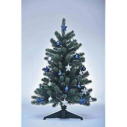 Neu XENOTEC Voll PE Weihnachtsbaum künstlich Höhe ca. 85 cm naturgetreu im Spritzgussverfahren hergestellt mit Baumschmuck in blau/silber