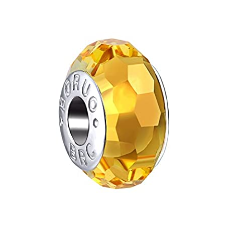 Boruo 925 Sterling Silver Czech Crystal Fascinating Facet Citrine Glass Charms Beads Spacers November Birthstone Solid Core Charm Fit Pandora Bracelets.