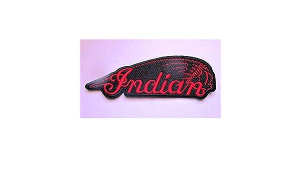 Patch Motorrad Indian Logo rot schwarz 10 x 3,5 cm Aufn/äher zum Aufb/ügeln Biker hotrodspirit