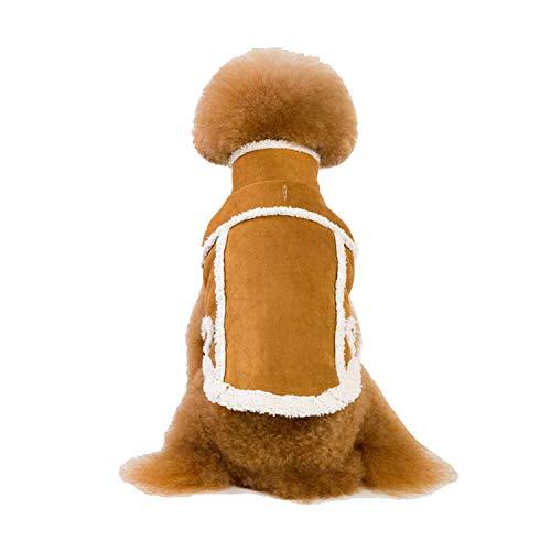 JYMDH PET Kleine Welpenhund Winter Warm Gepolsterte Verdickung Lederjacke Kostüm Bekleidung Kleidung,Brown,XL (Kostüm Dog Brown)