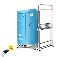 Portable Collapsible Dry Hanger 1300W - 15kg Capacity Energy Saving Fast Dryer With Remote Control (Color : Blue)