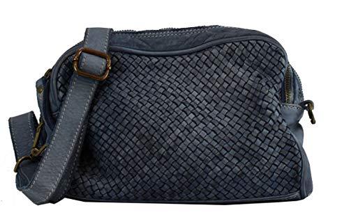BZNA Bag Lucy Blau blue Italy Designer Clutch Braided Ledertasche Umhängetasche Damen Handtasche Schultertasche Tasche Leder Shopper Neu