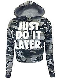 Friend Trendz -Femme Army Camouflage Just Do It Crop plus tard hoodies sweat