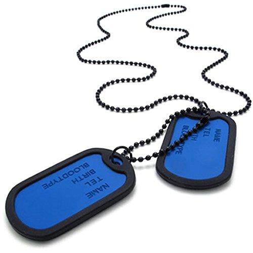 Daesar Acciaio Inossidabile Uomo Ciondolo Collana Blu Army Medaglietta Di Riconoscimento Pendenti Di Collana Link