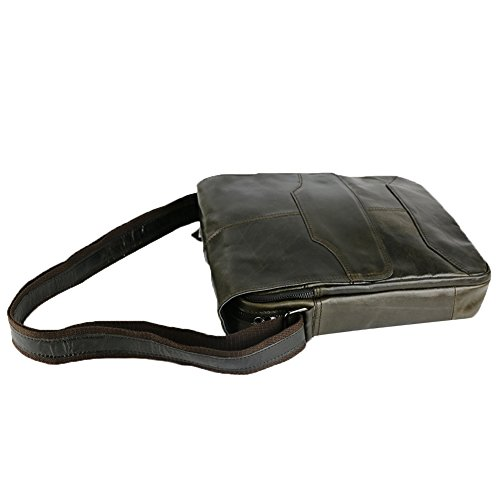 Genda 2Archer Genuine Leather Messenger Cross Body Bag Sling Bag piccolo sacchetto per gli uomini Nero