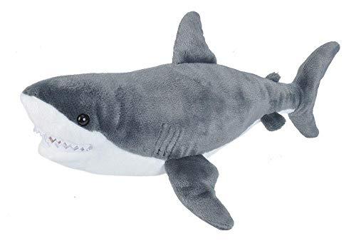 Wild Republic 22485 Plüsch Weißer Hai, Cuddlekins Kuscheltier, Plüschtier 30 cm, grau