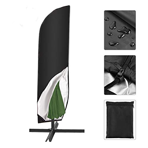 SanGlory Schutzhülle für Sonnenschirm bis Ø 300 cm, Sonnenschirm Abdeckung Wetterfeste Outdoor Abdeckung Bahamas Serie für Ampelschirm, Ampelschirm Hülle mit Aufbewahrungstasche (265cm)