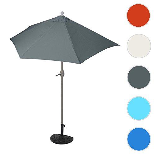 Mendler Sonnenschirm halbrund Parla, Halbschirm Balkonschirm, UV 50+ Polyester/Stahl 3kg ~ 270cm Anthrazit mit Ständer