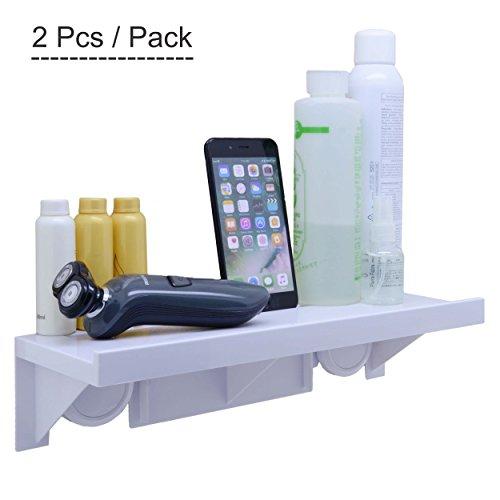 Braun Storage Bench (okomatch Badezimmer Regal ohne Bohrer & Nagel, leicht Installation Super Saugnapf an der Wand montiert stabil Kunststoff Storage Rack für Küche/Dusche & Wohnzimmer/Büro, ABS, 2pcs/Pack, M)