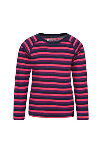 Mountain Warehouse Merino Gestreiftes Kinder-Rundhalsoberteil Thermounterwäsche Langarmshirt Winter Baselayer Rosa 164 (13 Jahre)