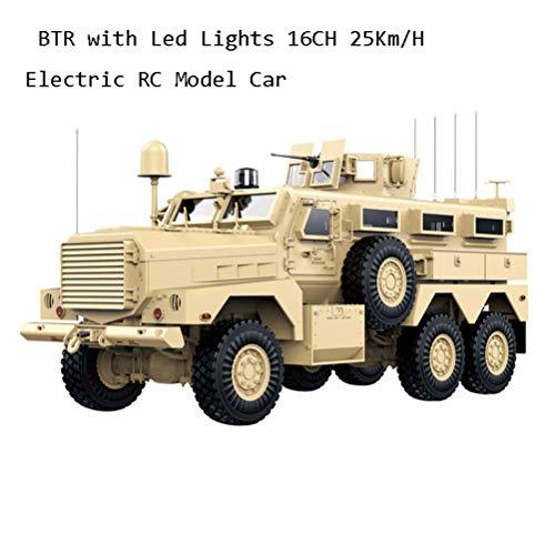 OD.zepp 12.01 2.4G RC Truck 6WD BTR mit LED-Leuchten 16CH 25Km / H Elektro RC Modellauto-Fahrzeuge Spielzeug für draußen Transmitter