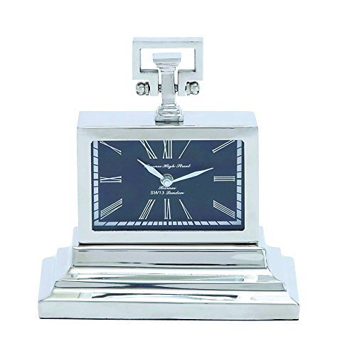 Benzara Nickel Plated Table Clock with Three Tiered Base by Benzara - Tiered Base