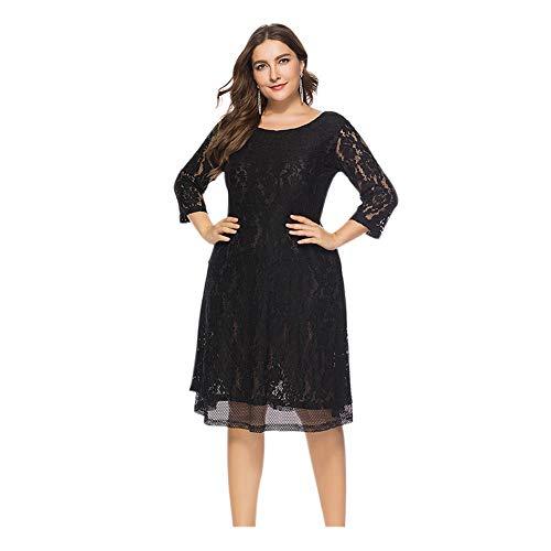der Größen Plus Size Cocktailkleid - Blumenspitze Zeremonie Abendkleid Hochzeit Party Schwarze Prinzessin Kleider XL-6XL ()