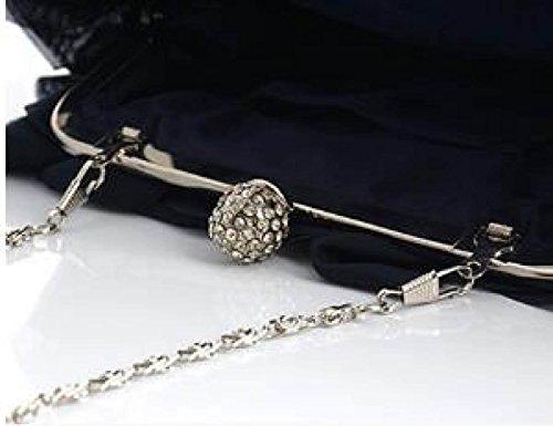 Damen Bankett Abendkleid Tasche Chiffon Abendtaschen Diamond Bridal Bag Catwalk Chain Bag Black