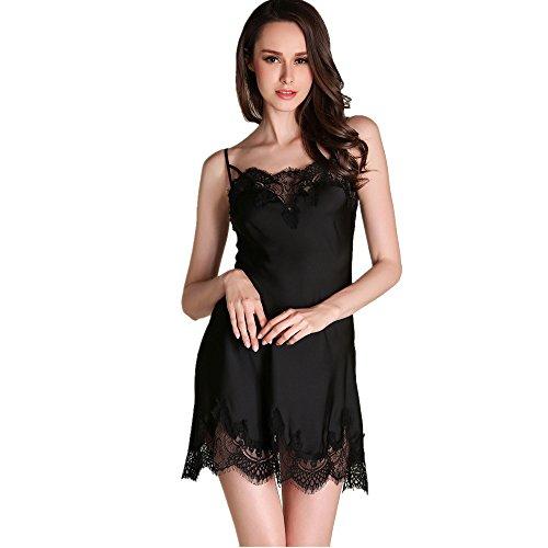 Rainbow Fox 2017 Nuovo estate Da donna indumenti da notte sexy biancheria intima Raso pigiama Puro Colore Black