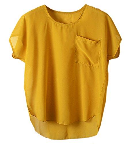 Damen Sommer T-shirt Mode Reizvolle Rundkragen Oberteile Kurzärmlig Blouse Einfarbig Hemden Tasche Top Freizeit Kurzarmshirts Pulli Gelb*
