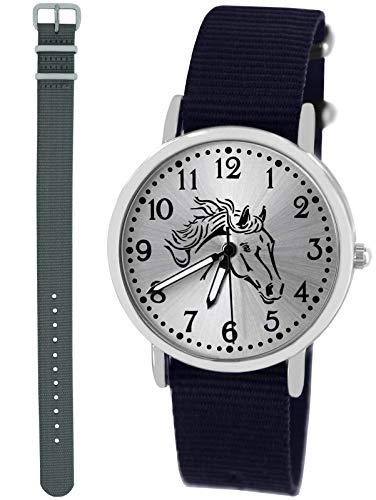 n Uhr Analog Quarz mit 2 Textilarmband 10413 blau grau ()
