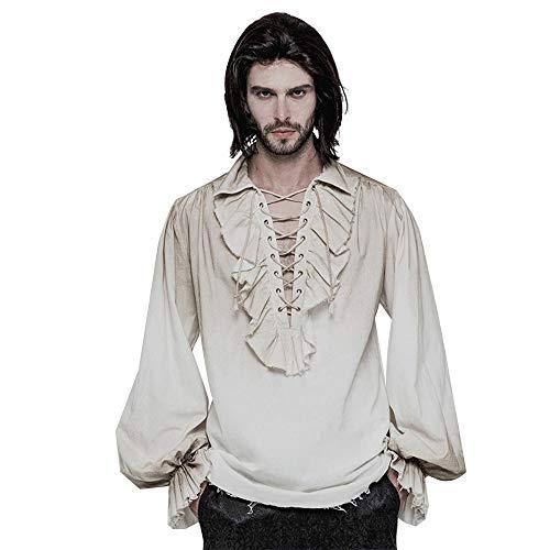 Y-clothing Das Hemd der Männer Herbst und Winter Steampunk Retro alt lässiges langärmliges Hemd für Herren Gentleman lässig geschnittenes Hemd (Größe : (Zwei Männliche Kostüm Ideen)