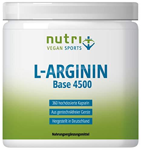 L-ARGININ BASE KAPSELN - Höchste Dosierung - 99{83eb150a5e5dca9f2c4ca05787e5ce849cc8704d3d318821aa2ee253a93eb2b3} reines L-Arginine - 360 Caps ohne Magnesiumstearat - Premiumqualität hergestellt in Deutschland - Nutri-Plus Vegan Sports