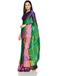 Womanista Women's Cotton Blend Sari With Blouse Piece(FSP429_Fuchsia, Green And Purple_Free Size)