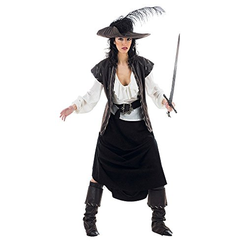 Musketier-Kostüm für Damen - M (Captain Black Pirate Kostüm)