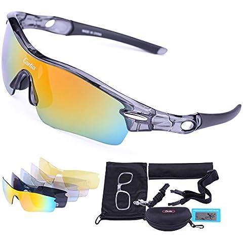 Gafas de Sol Deportivas Polarizadas,Carfia TR90 UV400 Unisex Gafas de Sol Deportivas Polarizadas a prueba de Viento 5 Lentes de Cambios Incluido para Deporte y Aire Libre Ciclismo Conducción Pesca Esquiar Golf Correr