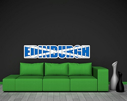 Preisvergleich Produktbild Wandtattoo Edinburgh Schriftzug Wandaufkleber Scotland in 8 Größen (130x27cm )