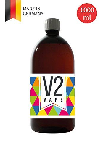 V2 Vape Glyzerin VG E-Liquid Grundstoff Base Basis 1000ml 1L 1-Liter Pharmaqualität reinst zum selber mischen von E-Liquids für E-Zigarette und E-Shisha 0mg nikotinfrei