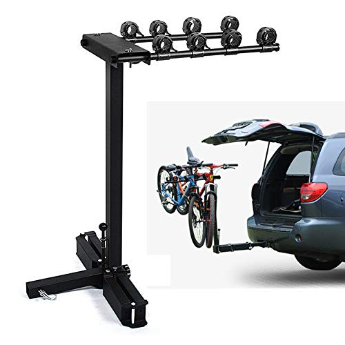 Portabici Posteriore Auto, Fino A 4 Bici, Solida E Robusta, Supporto Biciclette, per Fissaggio su Barra di Rimorchio (Carico 54Kg)