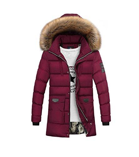 RichDeer Men's Hat Detachable Outwear Winter Long Hooded Coat Warm Windbreaker Jacket