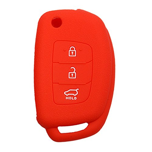 KMH Silicone Key Cover Fit for Hyundai I20 Elite/Verna Fluidic/Xcent 3 Button Flip Key Models 2013 Onwards (Red)  available at amazon for Rs.199