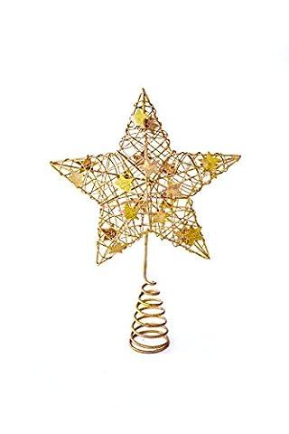 Heitmann Deco Weihnachtsbaum-Spitze - Metall-Baumspitze Stern in gold - glitzernder Blickfang für den Christbaum