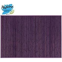 Alfombra de Bambú Natural, de Color Lila, con Base Antideslizante, Ideal para Salón/Dormitorio, de 140cm X 200cm -Hogar y Más