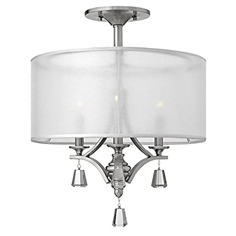 Modern Brushed Nickel Semi Flush Ceiling Light with 3 Light Fittings