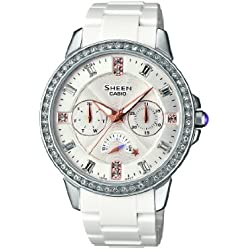 Sheen Women's Quartz Watch with White Dial Analogue Display and White Resin Strap SHE-3023-7AER