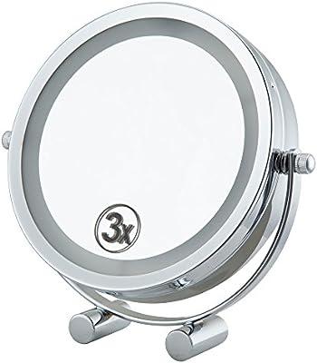 Jeking 15,24 cm matrimonio puertas de maquillado de barra de 3X de lupa para en de espejo de maquillaje decorativa con iluminación de destello de luz