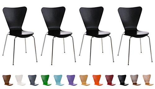 Clp set 4 sedie impilabili calisto con seduta in legno e telaio in metallo | sedia conferenza salvaspazio, facile da pulire | sedia classica riunioni | altezza seduta 45 cm | sedia attesa per fiere |sedia visitatore robusta nero
