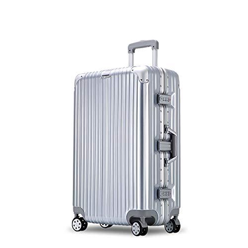 YCYHMYF Valigetta per valigie in Alluminio con Trolley Universale Valigetta per valigie in Argento Femmina (Argento 22 Pollici)