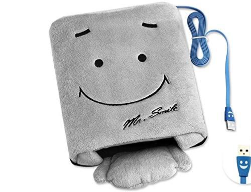 Brazalete de ratón con calefacción USB de la cara de la sonrisa, franela, calentador de manos(gris)